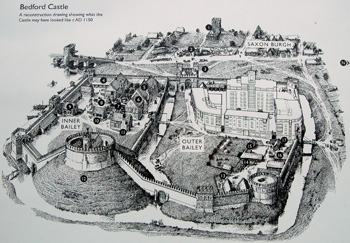 Artists reconstruction of Bedford Castle